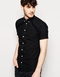 Minimum Oxford Shirt With Short Sleeves Slim Fit Pitchblack