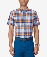 Nautica Men's Parker Plaid Short Sleeve Shirt Marine Blue