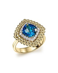 Bloomingdale's London Blue Topaz And Diamond Beaded Ring In 14K Yellow Gold Blue Gold