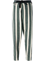 Forte Forte Striped Tapered Trousers Green