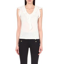 Karen Millen Frilled Trim Jersey Top White