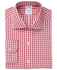 Brooks Brothers Men's Regent Classic Regular Fit Non Iron Red Checked Dress Shirt Gingham Red