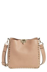 Valentino 'Small Rockstud' Leather Hobo Brown Soft Noisette
