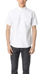 Steven Alan Short Sleeve Cadet Shirt White Mint Palm Tree