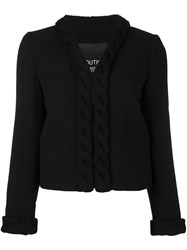 Boutique Moschino Cable Knit Trim Jacket Black
