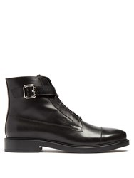 Tod's Lace Up Leather Ankle Boots Black