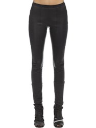 Rick Owens Leather And Cotton Leggings Black