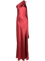 Michelle Mason One Shoulder Gown Red