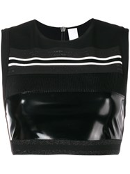 No Ka' Oi Patent Panel Cropped Top Black