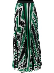 P.A.R.O.S.H. Geometric Print Pleated Skirt Green