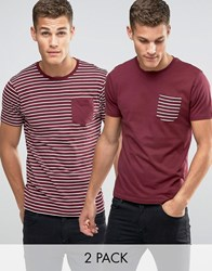Brave Soul 2 Pack Pocket T Shirt In Stripe Red