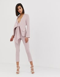 f05b78792c9 Lavish Alice Tie Front Blazer Style Tailored Jumpsuit In Dusty Pink Blue