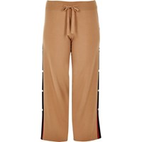 River Island Plus Brown Knit Popper Side Joggers