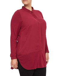 Junarose Long Sleeve Button Down Tunic Beet Red