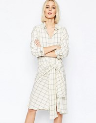 Weekday Ester Check Shirt Dress With Tie Front Cream