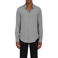 John Varvatos Star U.S.A. Men's Glen Plaid Cotton Shirt Black Blue Black Blue