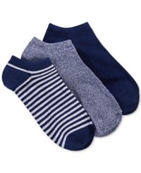 Charter Club Women's Stripe Low Cut Socks 3 Pack Only At Macy's Navy