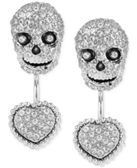 Betsey Johnson Silver Tone Pave Skull And Heart Front To Back Earrings