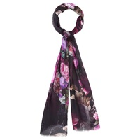 Viyella Digital Rose Print Scarf Purple