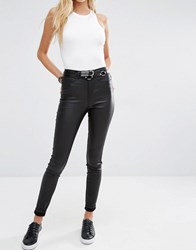 Noisy May Lexi High Rise Coated Skinny Jeans Black