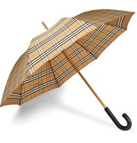 Burberry Leather Handle Checked Umbrella Camel