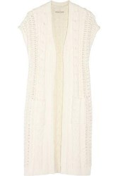 Alice Olivia Jodi Cable Knit Cotton Blend Cardigan Ivory