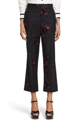Women's Marc Jacobs Floral And Pinstripe Crop Flare Wool Pants