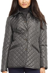 Women's Lauren Ralph Lauren Faux Leather And Shearling Trim Quilted Jacket Gunmetal