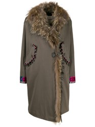 Bazar Deluxe Faux Fur Trim Wrap Coat 60