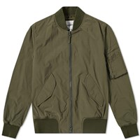 Aspesi Tech Nylon Ma 1 Bomber Jacket Green