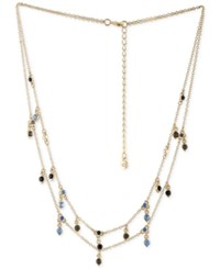 Rachel Roy Gold Tone Blue And Black Stone Double Layer Necklace