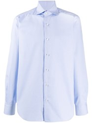 Barba Checked Pointed Collar Shirt Blue