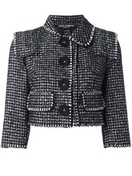 Dolce And Gabbana Tweed Cropped Jacket Black