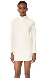 Cynthia Rowley Double Knit Turtleneck Dress White