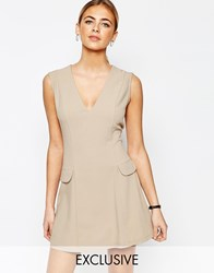 Love Tailored A Line Mini Dress With Pockets Tan