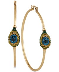 Lucky Brand Gold Tone Peacock Pave Hoop Earrings