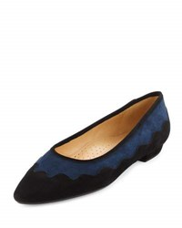 Neiman Marcus Gowyn Suede Scalloped Flat Navy Black