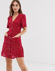 Superdry Button Through Print Dress Red