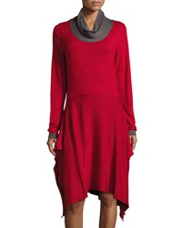 P. Luca Side Slit Cowl Neck Long Sleeve Tunic Red