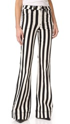 Alice Olivia Juno High Waisted Wide Leg Jeans Graphic Stripe