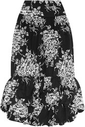 Sonia Rykiel Tiered Floral Print Cotton Midi Skirt Black