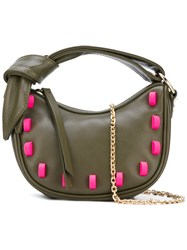 Borbonese Embellished Bag Women Cotton Leather Rubber One Size Green