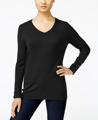 Jm Collection V Neck Button Cuff Sweater Only At Macy's Deep Black
