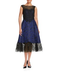 Teri Jon Embellished Jacquard Midi Dress Royal Blue