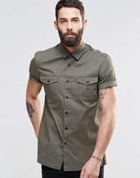 Asos Military Shirt In Khaki With Short Sleeves Khaki Green
