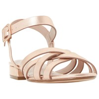 Dune Wide Fit Insley Cross Strap Sandals Rose Gold