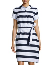 Neiman Marcus Striped Linen Shirtdress Navy White