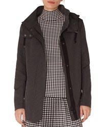 Akris Punto Pindot Jacquard Zip Front Parka Jacket With Detachable Hood Black White