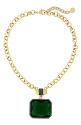 Women's Vince Camuto Pave Stone Pendant Necklace Gold Black Green
