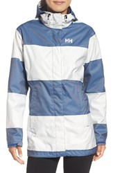 Helly Hansen Women's 'Bellevue' Waterproof Coat Marine Blue Wide Stripe